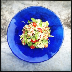 Crab, avocado, tomato & pink grapefruit salad