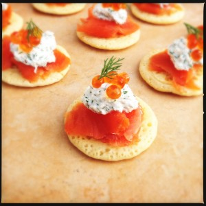 Blini with smoked salmon, ricotta & dill