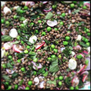 Puy lentils with broad beans, peas, radishes and mint in a lime vinaigrette