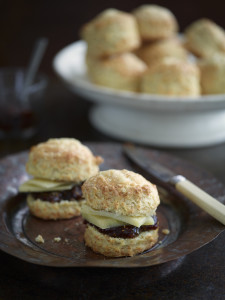 Comté scones with fig & vanilla jam