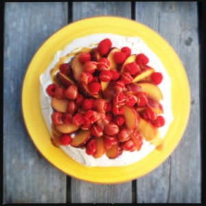 Peach & raspberry pavlova with salted caramel sauce